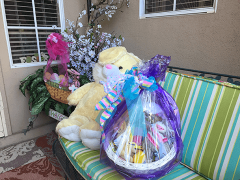 Purple Plastic Wrapped Easter Basket