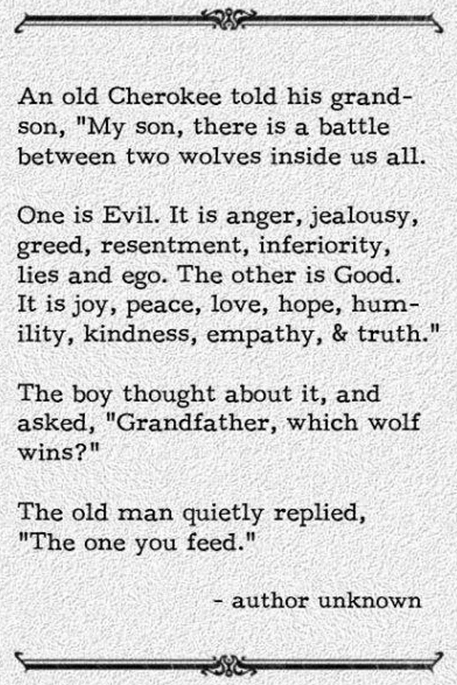 An old Cherokee told his granson, son, there is a battle between two wolves inside us all. One is evil. It is anger, jealousy, greed, resentment, inferiority, lies and ego. The other is Good. It is joy, peace, love, hope, humility, kindness, empathy, and truth. The boy thought about it, and asked, Grandfather, which wolf wins? The old man quietly replied, the one you feed